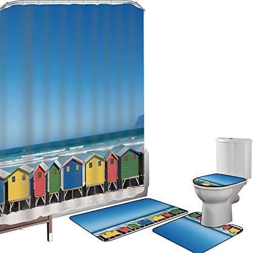 Ensemble de rideau douche Accessoires salleVoyage Couverture toilette pour tapis bain Bains colorés à Muizenberg Le Cap Afrique du Sud Debout dans une rangée touristique,multicolore Antidérapant étanc