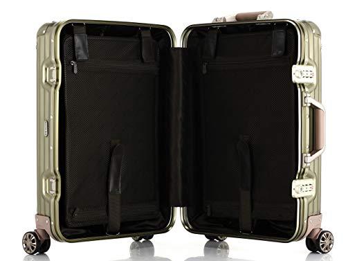 lanbaoビルガセキャリーケースアルミ・マグネシウム合金ボディスーツケースキャリーバッグ機内持込静音360度自由回転旅行出張(ブラック,S)