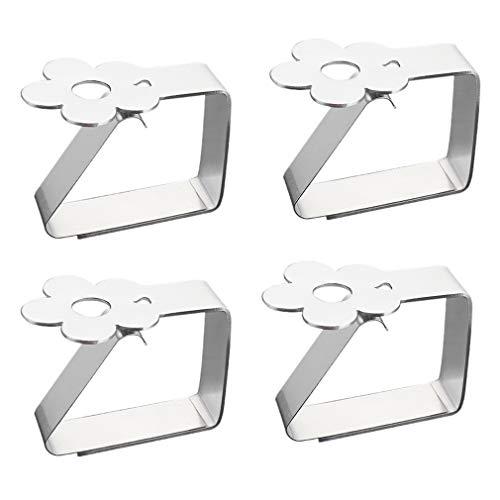 Tischdeckenklammer aus Edelstahl 4er-Set Blume-Motive Tischtuchklammern Silber Dekorative Tischtuchhalter Tischdeckenclips für drinnen und draußen für Tischplatten bis zu 3.5 cm Stärke