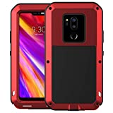 LG G7 Case, LG G7 ThinQ Case, Armor Hybrid Aluminum Alloy Cover Heavy Duty Gorilla Glass Rubber Waterproof Shockproof 360 Protective Military Outdoor Men Bumper Defender LG G7 2018 Feitenn - Red