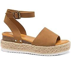Shoe Land Legossa Womens Open Toe Ankle Strap Platform Wedge Shoes Casual Espadrilles Trim Flatform Studded Wedge Sandals
