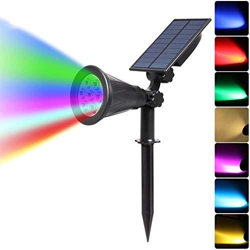 FENGTY Zonne-Licht 7 Led Solar Spotlight Landschap Lampen Kleurveranderend, Buitenverlichting Tuin Solar Lamp Landschap Wandlamp, Voor Buiten, Tuin, Gazon, Feest