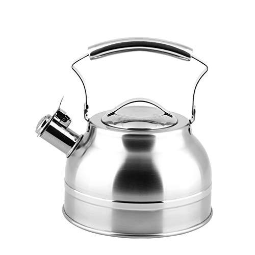 Electric oven Bouilloire de Sifflet d'acier Inoxydable 304, Théière Générale épaissie de Cuiseur à Induction de gaz de Grande Capacité de Ménage (Couleur : Silver, Taille : 2.2L)