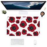 HUBNYO PoppiesLeather - Alfombrilla de escritorio de oficina para ratón, superficie lisa, fácil de limpiar, resistente al agua, protector de escritorio para la oficina/el hogar