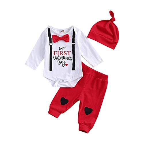 3 Piezas Conjunto de Traje para Bebé Recién Nacido Ropa para Día de San Valentín Mameluco de Manga Larga + Pantalones Largos + Sombrero Ropa Verano de Niños para Primavera (Blanco, 6-12 Meses)