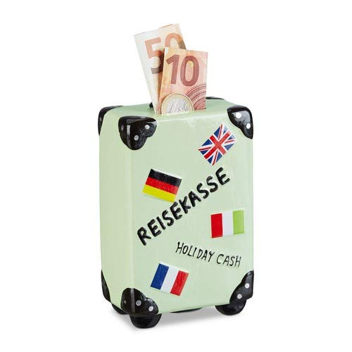 Relaxdays spaarpot vakantie, koffer, met vlaggen, vakantiekassa, reiskasse, spaarpot, HxBxD: 14,5 x 9,5 x 5 cm, crème