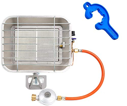 4,6 kW Gas Keramik Infrarotheizung + Zubehör/Camping Gasheizung Infarot Gasheizer Wärmestrahler (Aufsatzstrahler Campingheizung, Heizung, Werkstatt Infrarotstrahler Terrasse)