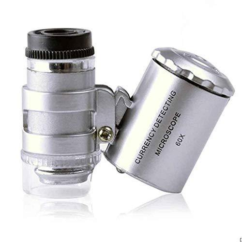 N/ A Mini Taschenmikroskop Lupe UV-Währungsdetektor Juwelier Lupe Mit LED-Licht 60X Handlupe, Geschenke für die Familie