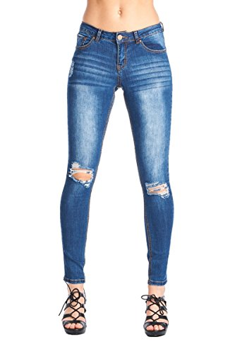 BLUE AGE Womens Blue Destroyed Ripped Skinny Jeans JP0064