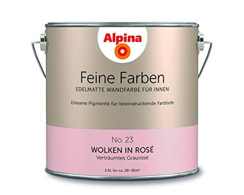 Alpina 2,5 L. Feine Farben, Farbwahl, Edelmatte Wandfarbe für Innen (No.23 Wolken in Rosé - Verträum
