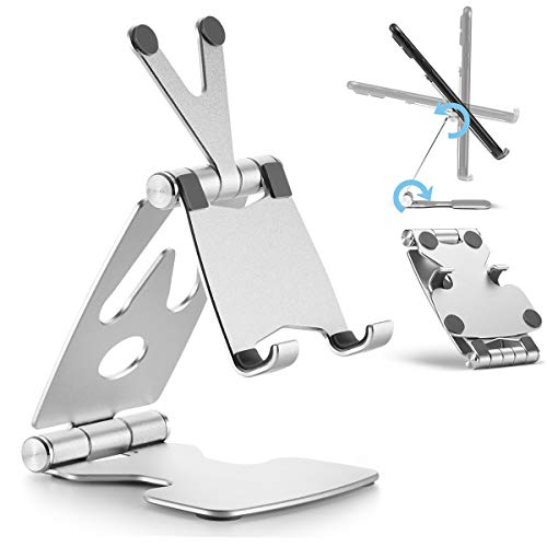 ZOMCHAIN Cell Phone Stand, Foldable Phone Stand Adjustable Desktop Phone Holder Dock Compatible All Smart Phones Silver