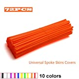 JOYON 72 Pcs Universal Spoke Skins Covers Coats for Motorcycle Dirt Bike Kawasaki Honda Yamaha BMW Suzuki(Orange)