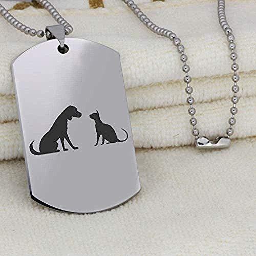 Yiffshunl Collar Collar de Acero Inoxidable Collar con Colgante Amigos Regalo para Perros y Gatos para Amigos