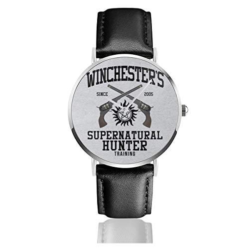 Unisex Business Casual Winchesters Supernatural Hunter Training Uhren Quarz Leder Armbanduhr mit schwarzem Lederband für Männer und Frauen Young Collection Geschenk