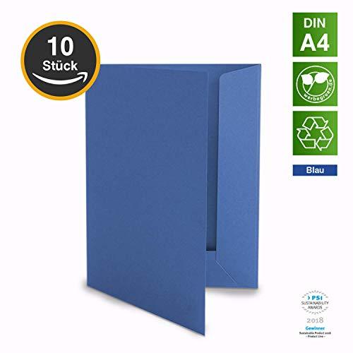 10 Hochwertige Präsentationsmappen - DIN-A4 BLAU Stabiler durchgefärbter 320g/m² Karton - eigene Herstellung in Deutschland (Dokumentenmappen Angebotsmappen Pappmappen Arbeitsmappen Pappe)