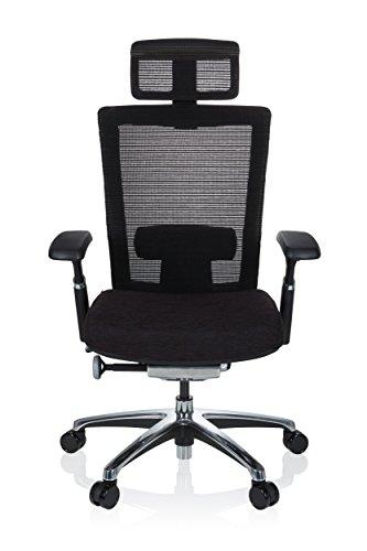 hjh OFFICE 657650 Profi Bürostuhl NOVA PRO I Netzstoff Schwarz Schreibtischstuhl ergonomisch mit Kopfstütze