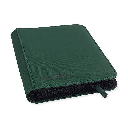 Vault X Premium eXo-Tec® - Carpeta con cremallera para álbum de tarjetas de intercambio, 4 bolsillos, 160 bolsillos de carga lateral para TCG (verde)