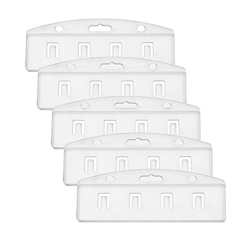 Outus Half Card Badge Holder, Horizontal, Frosted Rigid Plastic, 5 Pack