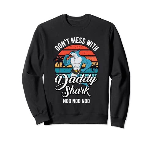 Daddy Shark Doo Doo Doo Vintage Retro Muscle Gym Sharks Dad Sudadera