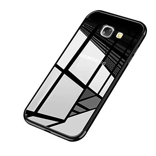 kompatibel mit Galaxy J5 Prime Hülle Silikon Überzug Rahmen Hülle Crystal Clear Durchsichtige TPU Silikon Schutzhülle Schutz Handy Hülle Handytasche Case Cover Für Samsung Galaxy J5 Prime,Schwarz