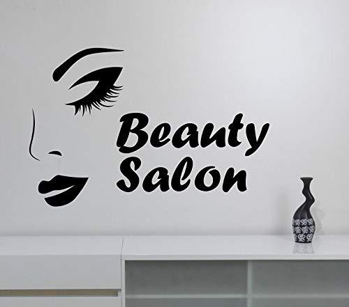 Dwzfme Etiqueta de la Pared calcomanías de Pared Vinilo Estilo de Maquillaje Mujer Cara Arte decoración de la Pared salón de Belleza Tienda Ventana Espejo decoración 86x57 cm