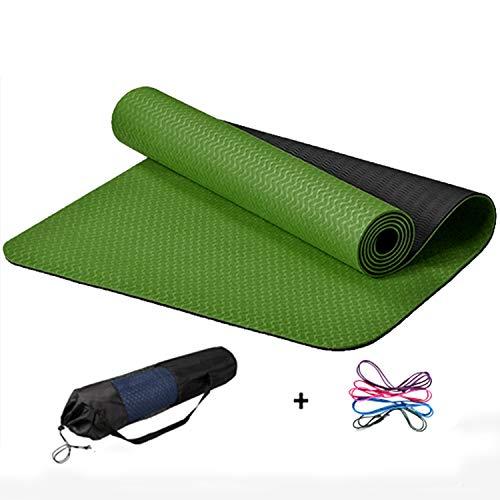 FitTrek Fitnessmatte Yogamatte rutschfest - TPE Gymnastikmatte 183 x 61 x 0,6 cm - Turnmatte Gym Matte Pilatesmatte Yoga Mat Weiche, Zweifarbiger, Geruchloser
