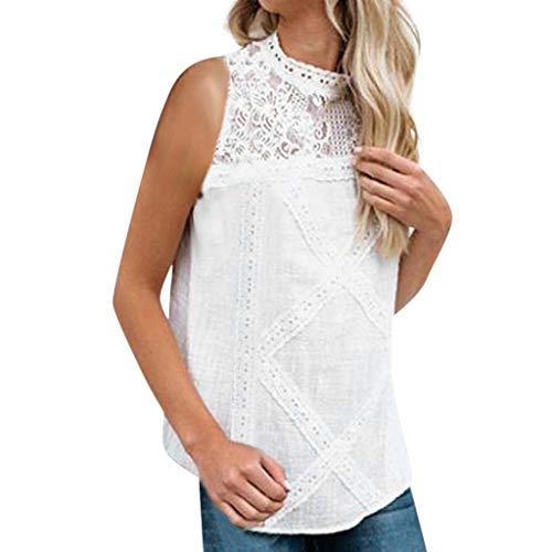 TITIU Damen Spitze Patchwork Flare Rüschen Kurzarm Cute Floral Shirt Bluse Top Oberteil Sommer Lose Flare Rüschen Oberteil Bluse Weiß