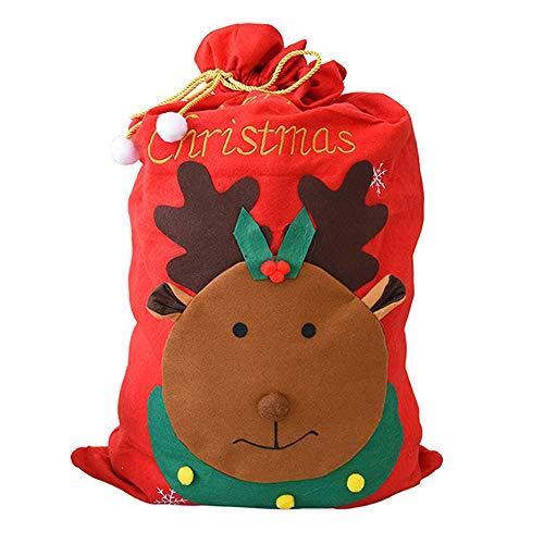 Grande sacco di Babbo Natale, 100 cm x 60 cm, motivo con alce, in feltro rosso, per regali e doni