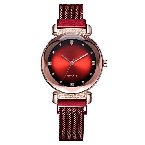 Frauenuhr Schlankes Minimalistisches Zifferblatt Aus Quarz Mit Magnetischer Schnalle Damen Uhren Mode Einfache Diamant Dial Uhr Damenuhr FriendGG (Rot)