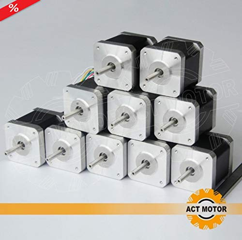 WAREHOUSE SALE JULY/AUGUST!! ACT MOTOR GmbH 10PCS 17HS4417 Nema17 Stepper Motor Bipolar 40mm Body 40Ncm Torque 4Wire 300mm Cable 1.7A with 1.8° 2.55V for Robot CNC Schrittmotor 3D Printer