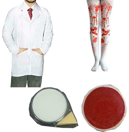 FashioN HuB Medias sangrientas para adultos, capa de laboratorio, pintura facial, dentista, disfraz de Halloween, juego de accesorios pequeos