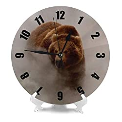 Aieefun Grizzly Bears Dust Mist Smoke Wildlife Animals Silent Round Wall Clock, 9.84 Inches Battery Operated Easy to Read for Home, Office, School Decor