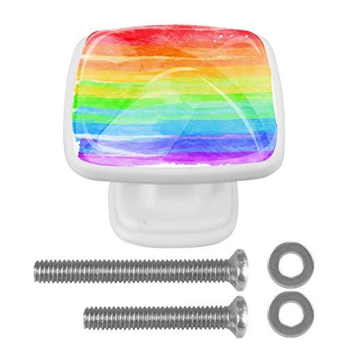 4 pomos para armarios de cocina de 3,8 cm con tornillos para cocina, aparador, armario, baño, armario, acuarela, arco iris