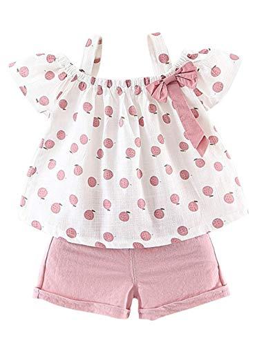 Gifunes - Conjunto de ropa de verano para bebé (3 piezas, con mangas volantes, pantalones cortos y diadema floral para bebé y verano, Apple Rosado, 18-24 Meses