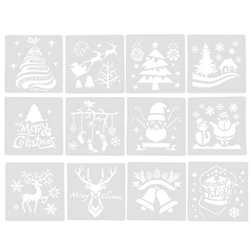 TOYANDONA 12 piezas plantilla de dibujo de navidad plantillas de dibujo reutilizables plantillas de pintura para niños estudiantes niños