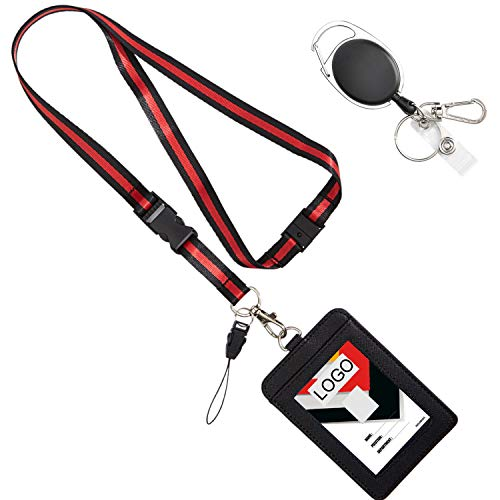YOUOWO id Badge Holder with Lanyard Breakaway Safety Neck Office Lanyards Retractable Reel Clip Quick Release Detachable Buckle Black Lanyard for Men Women Keys PU Leather Vertical Card Holders
