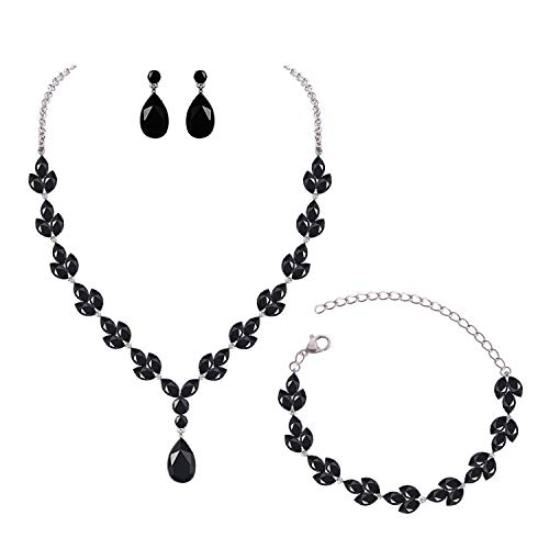 YSOUL CZ Rhinestone Necklace Earrings Bracelet Jewelry Set For Prom Wedding Bridal Bridesmaid (Black)
