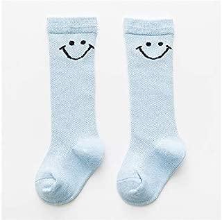 Lovely Socks Children Cotton Socks Kids Spring Solid Color Smile Patterns Mid Tube Socks(Pink) Newborn Sock (Color : Blue, Size : S)