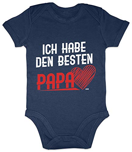 """Hariz - Body de manga corta para bebé con texto en alemán """"Ich Hab Den Besten Papa Papa con texto en alemán """"Schwanger Baby Bodies Dadddy, incluye tarjeta de regalo de marinero azul oscuro 0 – 3 meses"""