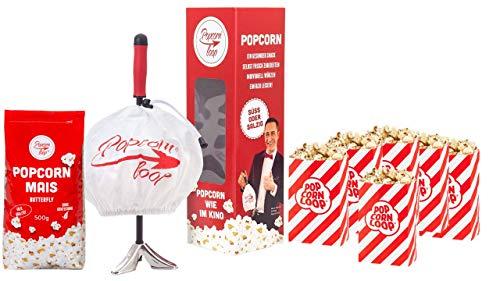 Original Popcornloop Starter Set - Besteht Aus Popcornloop, 500g Mais, 5 Popcorntüten Heimkinoset Auspacken, Loslegen