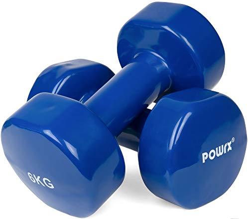 POWRX Manubri Pesi Vinile 12 kg Set (2 x 6 kg) - Dumbbells Ideali per Esercizi in casa e Palestra - Impugnatura Antiscivolo + PDF Workout (Blu)