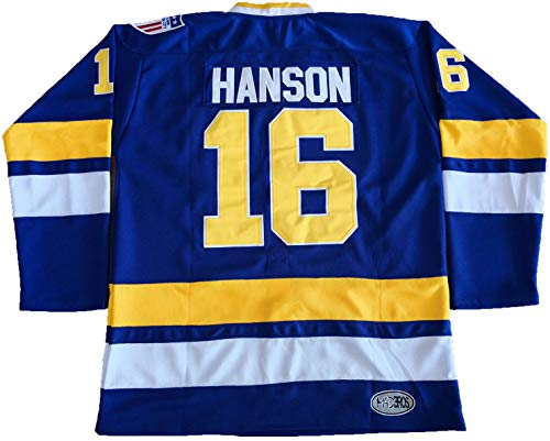 Hanson Brothers Charlestown Chiefs 16 Jack 17 Steve 18 Jeff Slap Shot Movie Hockey Jersey Blue (16 Blue, X-Large)
