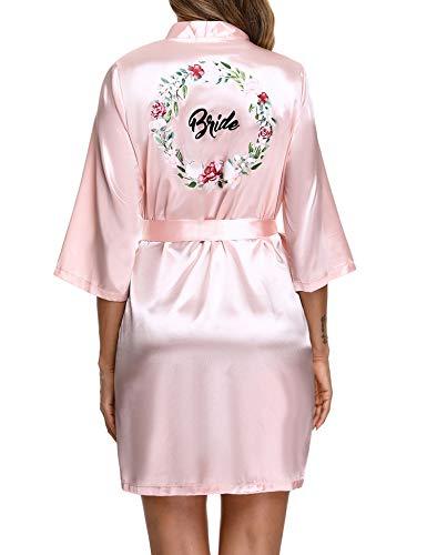 Aibrou Kimono Novia Boda, Dama de Honor Bata Satén Corto Batas de Novia y Damas de Honor con Cuello en V Oblicuo Kimono Boda para Despedida de Soltera, Lunas de Miel, Bodas, Fiestas