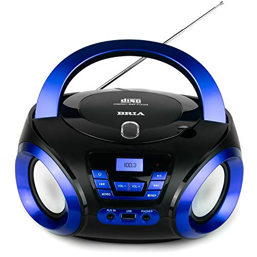 BRIA PB271 Portable CD/MP3 Home Audio FM Radio Enhanced Bass Boombox with Bluetooth, Aux Input, USB Input, and Headphone Jack - Blue