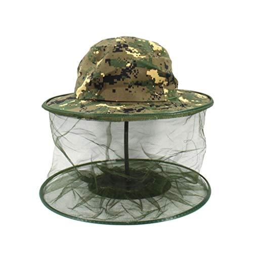 Qimao Camouflage Unisex da pesca della maglia della rete Cappellini testa di fronte Protector Midge zanzara dell'insetto Prevenzione esterna Cappello per il sole di caccia