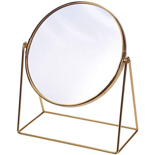 Standspiegel 33x17xH40cm, Spiegelfläche rund schwenkbar, Metallgestell Gold Retro-Look Dekospiegel Schminkspiegel