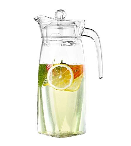 H-BEI Jarra de Jugo de Agua Viva de 1,3 L, Jarra, Botella de Vidrio, cóctel, Nevera, Cocina, hogar, Picnic, hervidor de Vidrio
