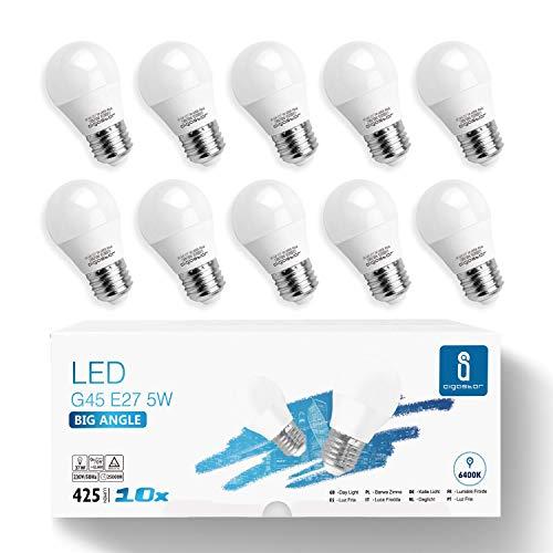 Aigostar -10 x E27 Bombilla LED G45, Casquillo gordo 5W, Bajo consumo, 425 lm, Luz fría 6400K, Ahorro de energía, CRI> 80, ángulo de apertura 230º, no regulable - Caja de 10 unidades