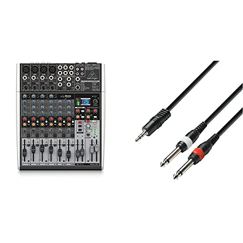 Behringer Xenyx X1204USB Mischpult mit USB-Audio-Interface (12-Kanal, 2/2 Bus) & Adam Hall Cables K3YWPP0300 Audiokabel 3,5mm Klinke stereo auf 2 x 6,3mm Klinke mono 3m