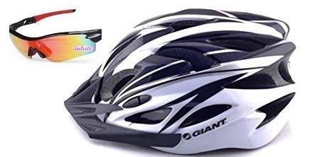 adatiレインボーサングラス付き GIANT軽量ヘルメット(黒) 取り外し可能なサンバイザー付き! アジャスターサイズ調整可能 軽量設計で美しいフォルム・約55cm-63cm/重量:236g